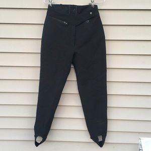 Vintage Obermeyer black wool skinny ski pants 10L